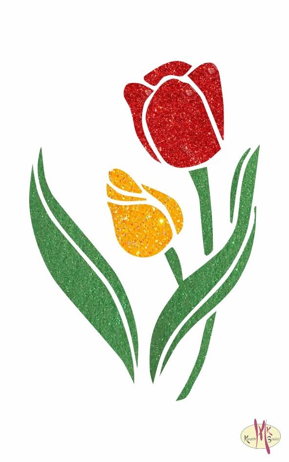 8x5 cm-es Csillámtetoválás sablon - Tulipánok 67 - Csillámtetoválás ... 78817294af