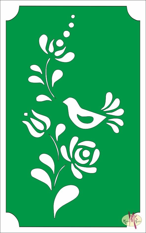 8x5 cm-es Csillám tetoválás sablon - Virág madárral 98 ... eb773b7c31